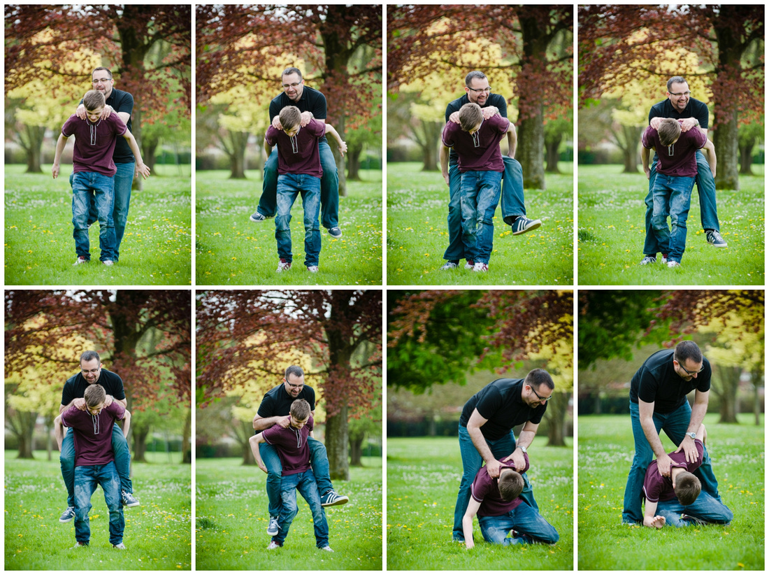 This time Callum gives his dad a piggy-back, it