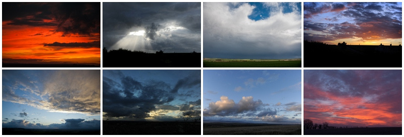 A collection of skies over Wiltshire by Wiltshire wedding photographer Barbara Leatham