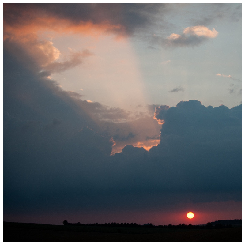Cloud breaking sunset by Wiltshire photographer Barbara Leatham, taken in Tilshead