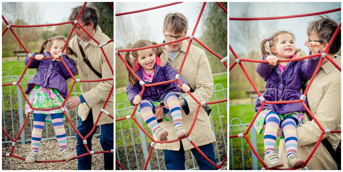 climbing the spiders web, daddy needs to help, it