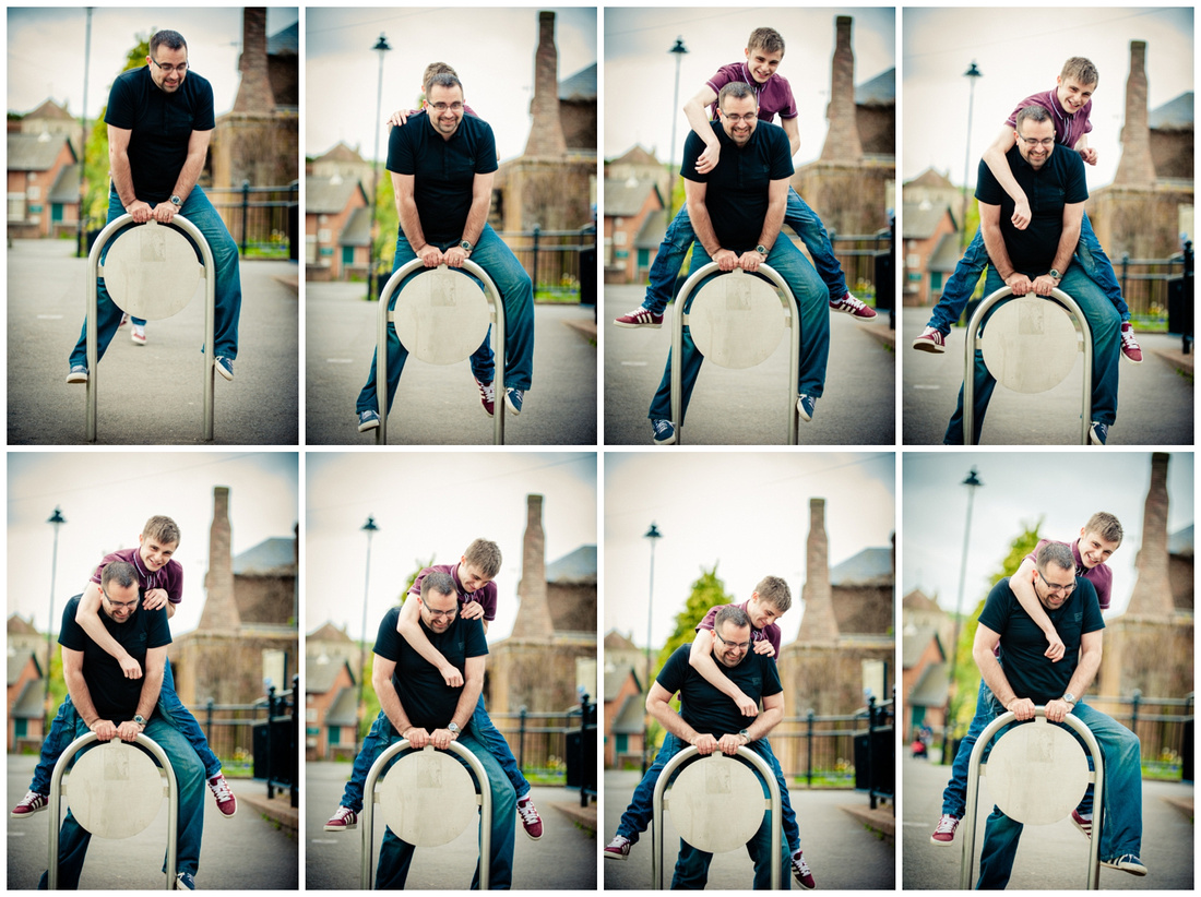 Leap frog, dad and son have fun and laughing together
