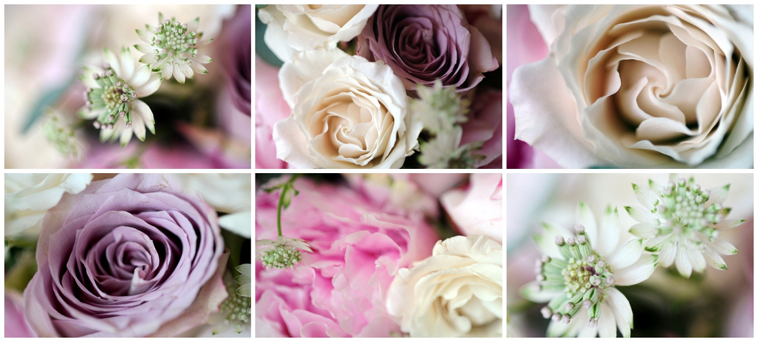 details of flowers, mauve, pinks and vintage colours