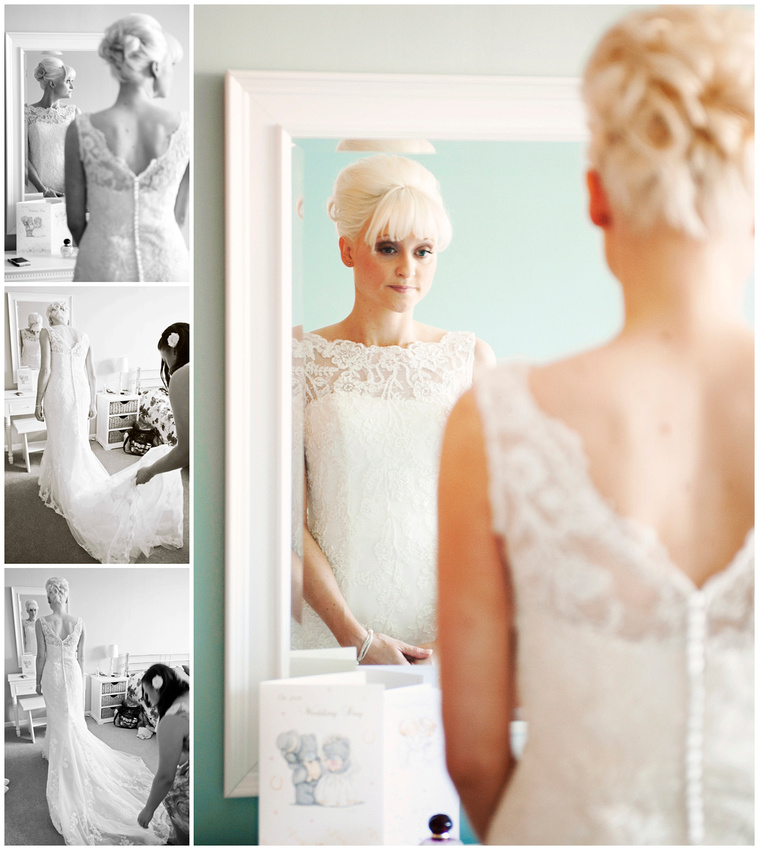 beautiful vintage wedding dress on a stunning bride