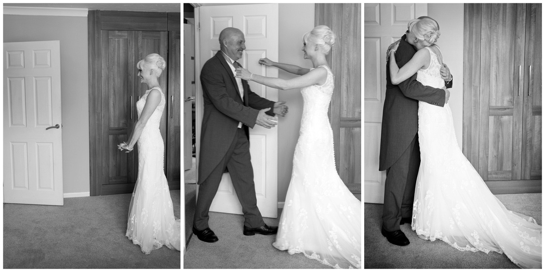 the first time the brides dad sees his little girl in her dress, magical wedding day moment