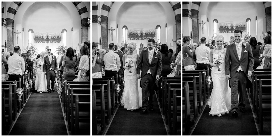 mr and mrs, the bride and groom walk down the isle as husband and wife