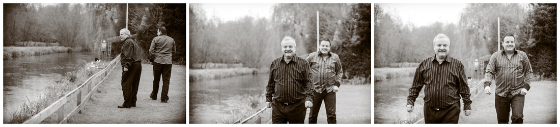 The river at Grasmere House Hotel, Steve and Trevor trying to be serious