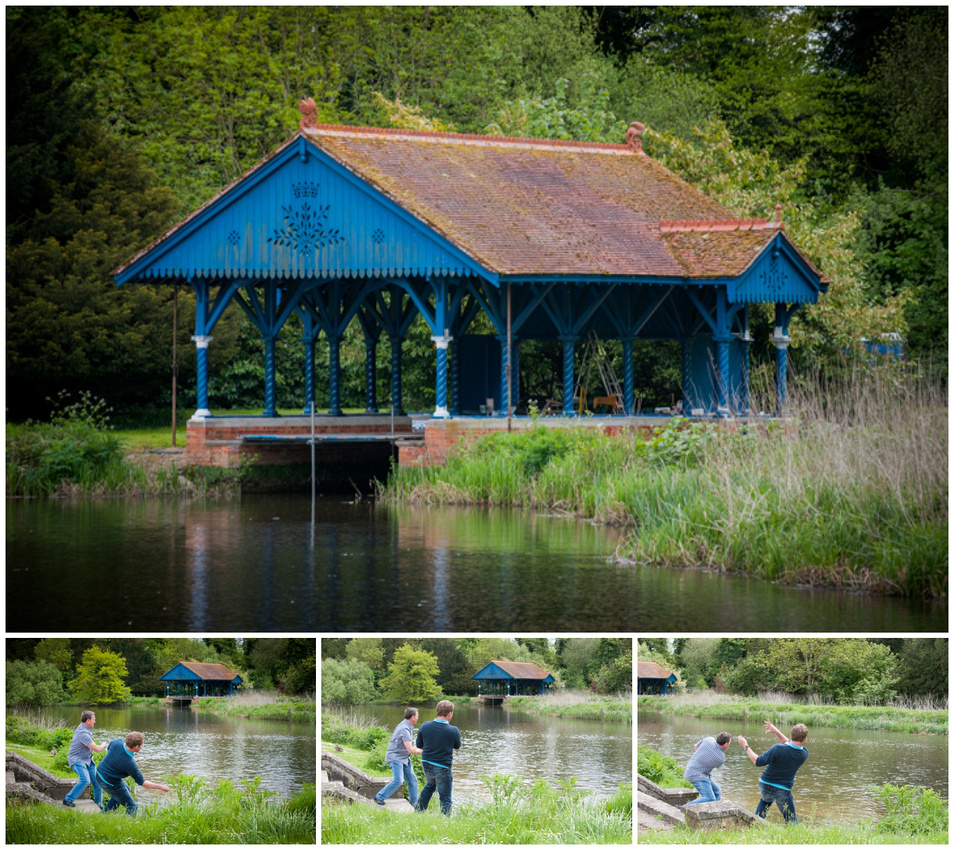 Skimming stones by the river in WIlton, Salisbury. Pete East and Chris East
