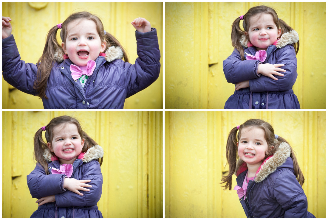 fun by the yellow door, pulling faces and making daddy laugh
