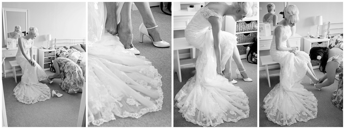 putting on the wedding shoes, never easy in your wedding dress